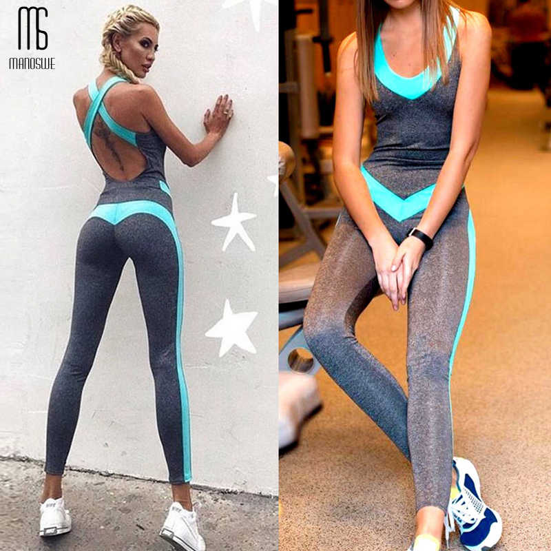 Women One Piece Sportswear Tight Backless Jumpsuits Gym Yoga Sport Pants Elastic Breath and Comfort Sports Wear For Women Gym