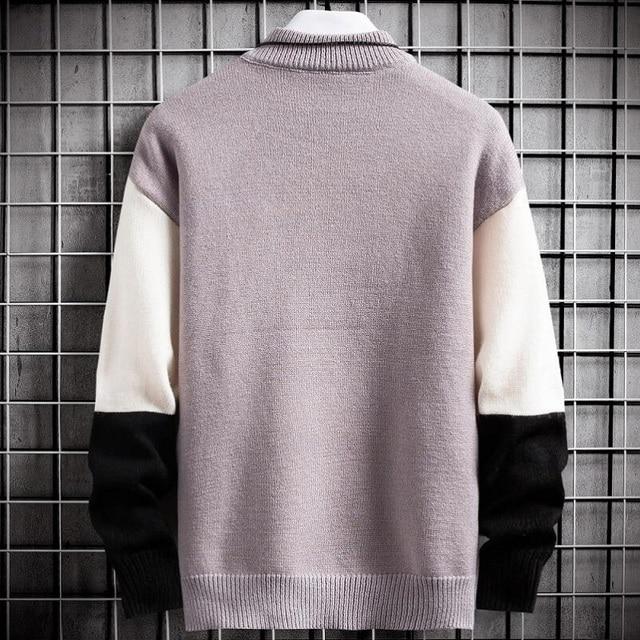 Suéter cálido de Cachemira para hombre, jersey de cuello alto, suéteres en forma de retales, Tops tejidos de Navidad, invierno, nuevo 4