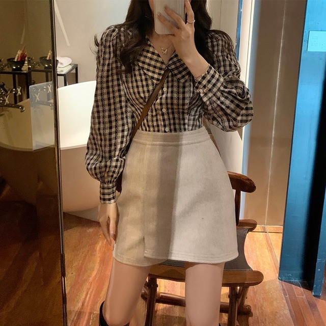 Plaid Shirts Women Peter Pan Collar Lantern Sleeve Sweet Tender Elegant Girls Casual New Arrival Top Korean Style Vintage Female 1
