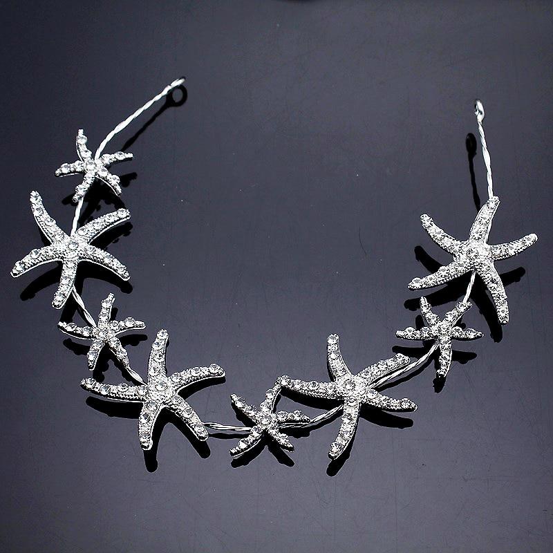Star Tiara Headbands Hair-Accessories Bridal-Head-Piece Rhinestone Wedding Silver Crystal