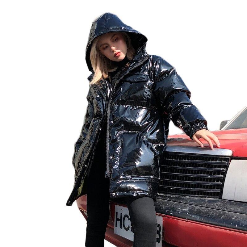 Parka   Coat Women Winter Glossy Down Jackets Plus size Hooded Loose Female's Outwear Down Cotton Padded Jacket Coat Woman Wadded