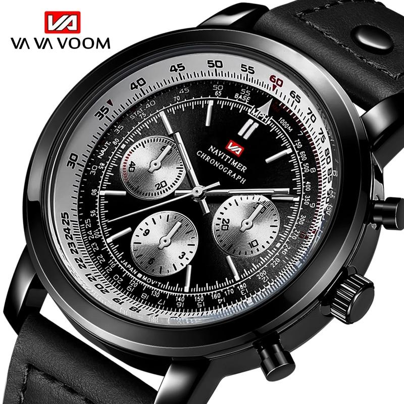 VA VA VOOM Brand Men's Watch clock Casual Quartz Watches For Male Sport Waterproof Wristwatch Leather Strap Watch montre homme
