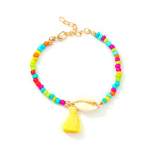2019 ladies exquisite bracelet colorful beaded rope chain tassel fashion Bohemian beach natural handmade hot sale new