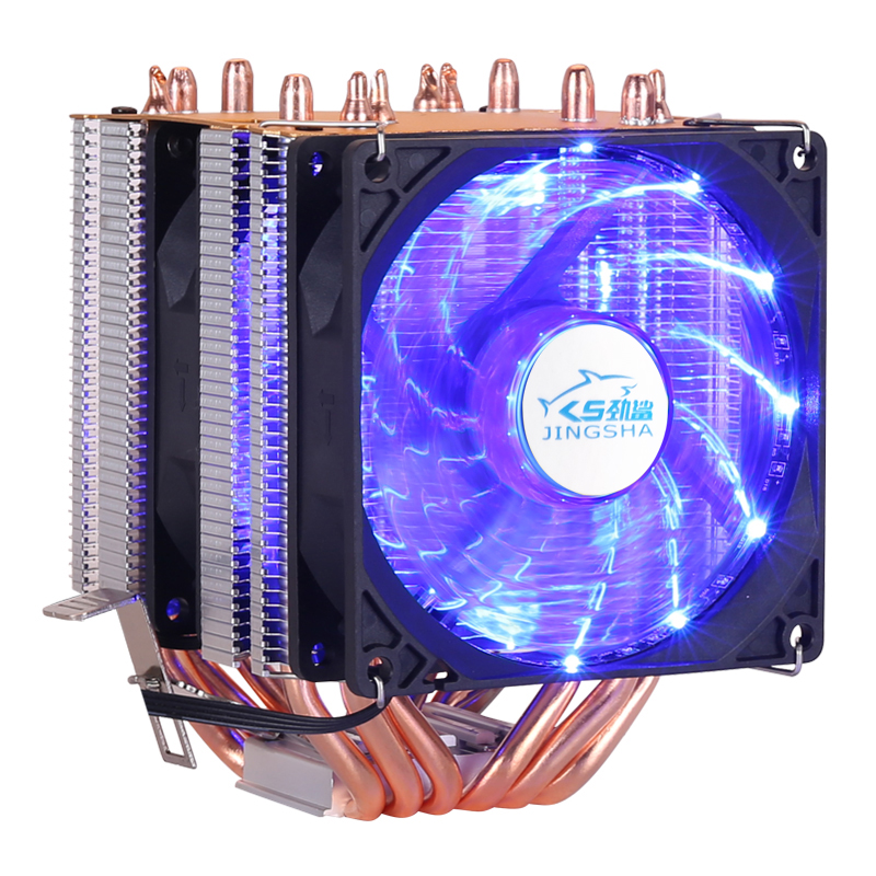 6 heatpipe CPU <font><b>cooler</b></font> Intel 775/1150/1151/1155/<font><b>1156</b></font>/1366 2011 AMD 4pin dual-tower cooling 9 cm fan LED light image