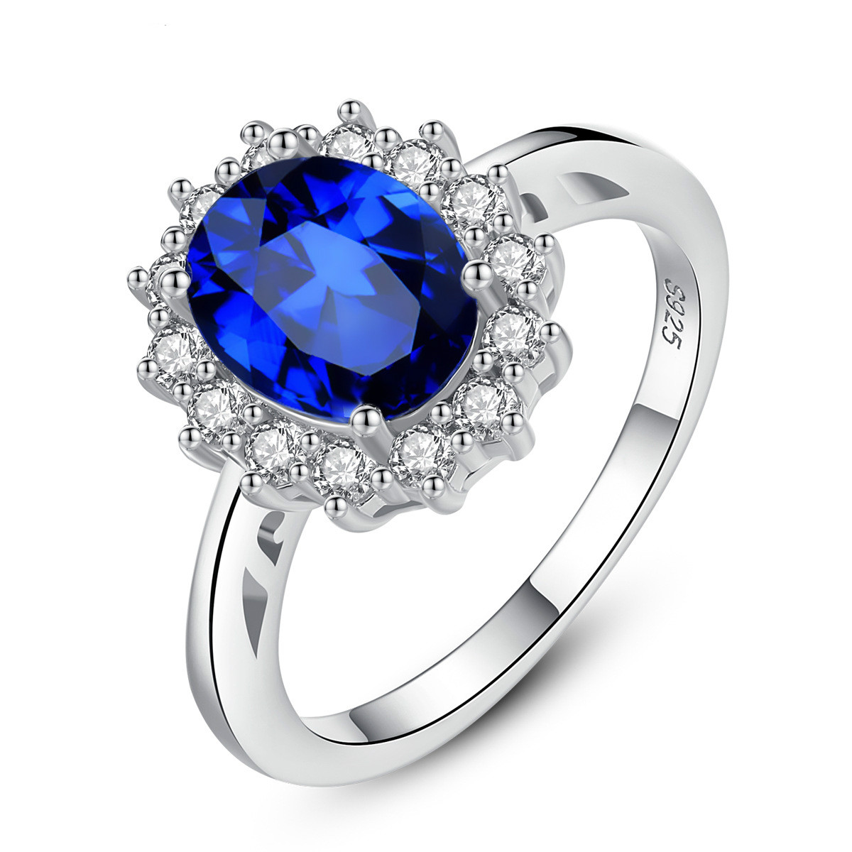 Sapphire 925 Sterling Silver Rings for Women Gemstone Silver Rings 925 Ladies Engagement Rings Sterling Silver Princess Jewel