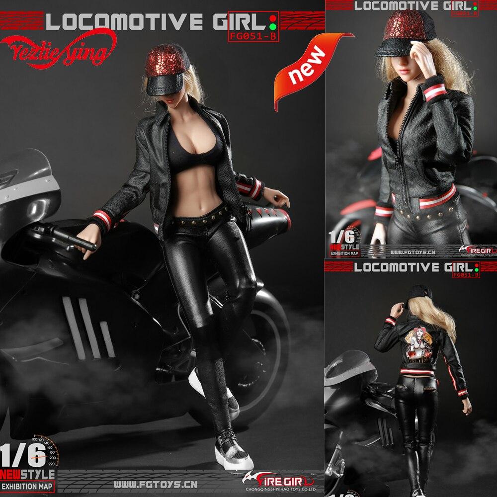 1/6 весы FG051 локомотив девушка женская черная кожаная одежда узор наборы костюм для тела 12 ''фигурки