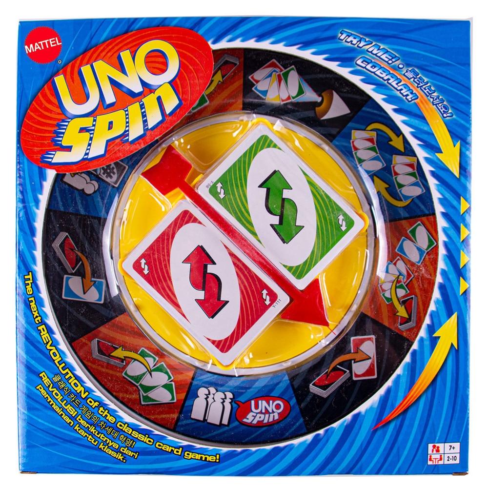 Mattel Games UNO SPIN Семейные забавные развлекательные настольные карты, забавные покерные детские игрушки, игральные карты