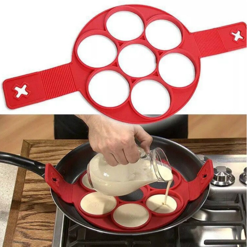 Baking Tools Round 7 Hole Silicone Omelette Nonstick Pancake Machine Oven Baking Cooking Mold Cooking Tools