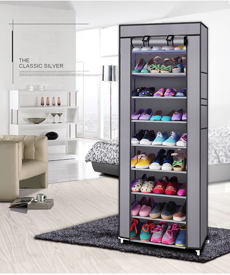 【UK Warehouse】Fashionable Room-saving 9 Lattices Non-woven Fabric Shoe Rack Gray