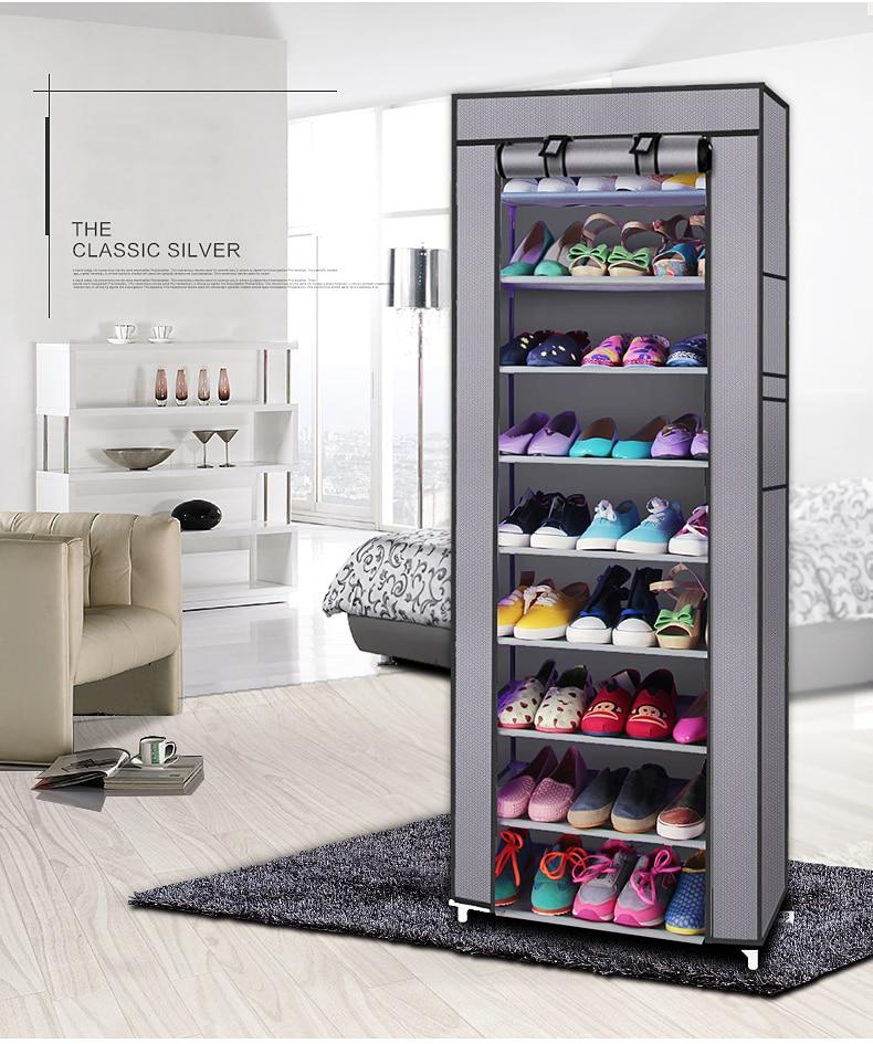 【UK Warehouse】Fashionable Room-saving 9 Lattices Non-woven Fabric Shoe Rack Gray