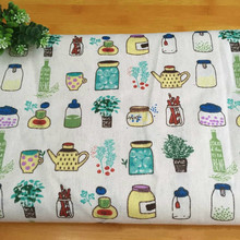 Cartoon Printed Linen Cotton Fabric Beige Pure By Meters DIY Sewing Tablrcloth Pillowcase Curtain Material