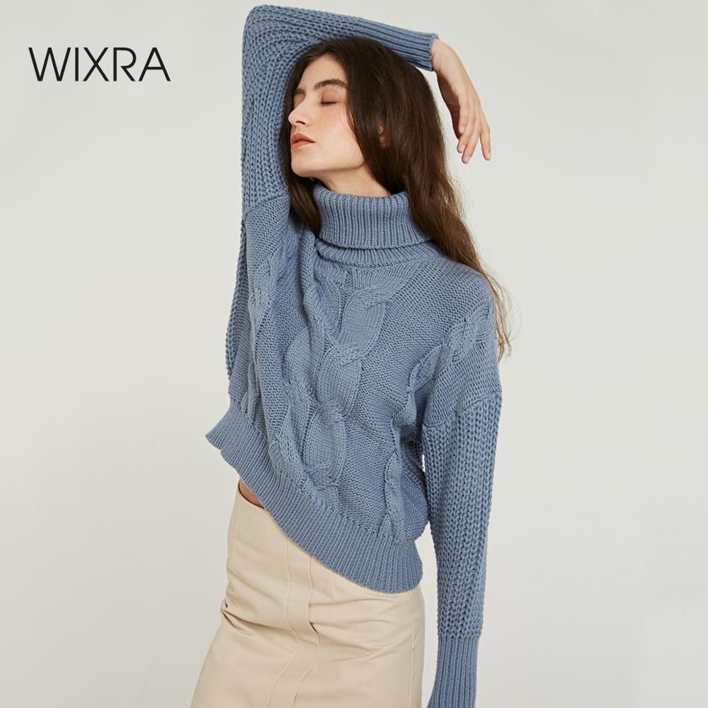 Wixra col roulé chandails 2019 automne hiver solide élégant couleur décontracté dames tricoté femmes pulls pull et pulls