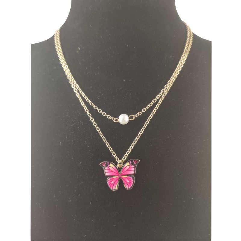 אופנה חמוד פרפר תליון שרשרת עגילים לנשים שכבות זהב שרשרת חיקוי פרל הצהרת שרשרת תכשיטי סטים