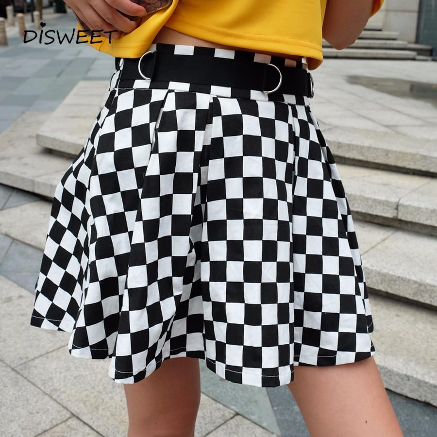 Disweet Pleated Plaid Skirts Womens High Waisted Checkered Skirt Harajuku Dancing Korean Style Sweat Short Mini Female