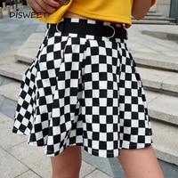 Disweet Pleated Plaid Skirts Womens High Waisted Checkered Skirt Harajuku Dancing Korean Style Sweat Short Mini Skirts Female