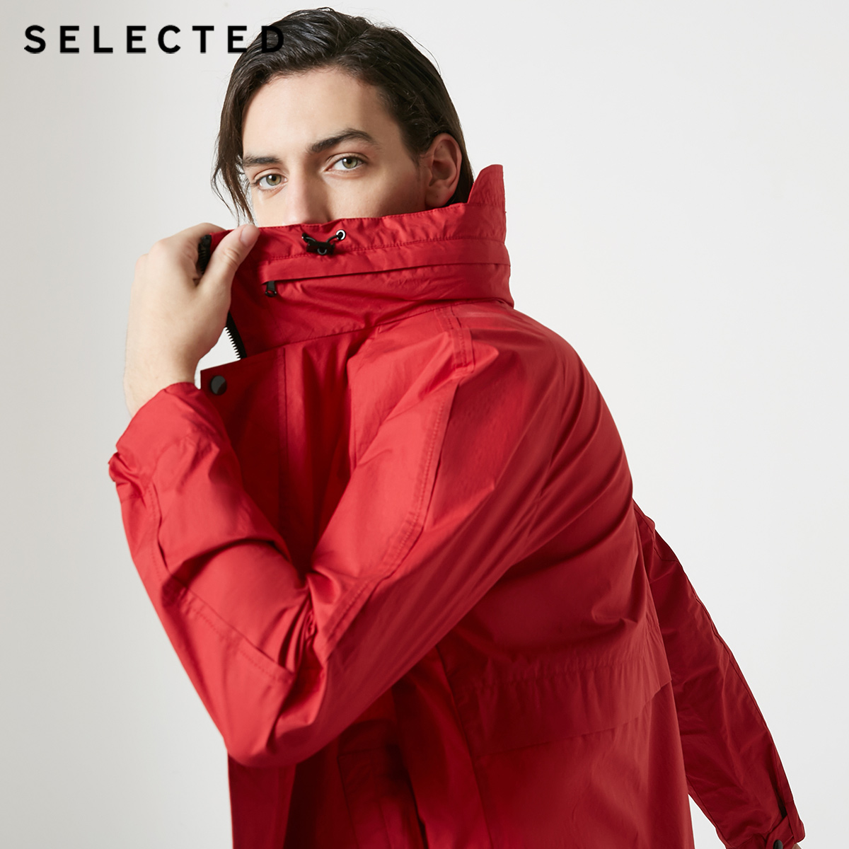 SELECTED Men's Spring Stand-up Collar Hooded With Drawstring Coat S|419121519