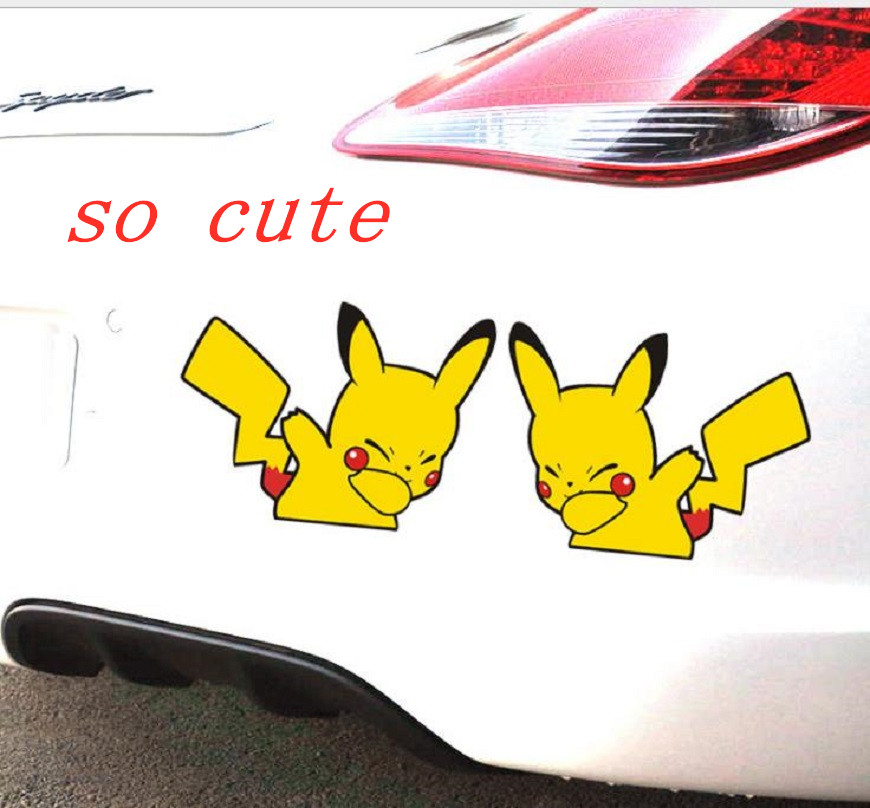 Car Styling Lovely Cartoon Animal Pet Pikachu Pokemon Sticker Decals For Car Decorative Vinyl Decal Suitcase  Laptop Sticker