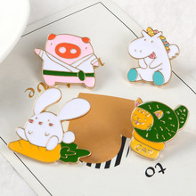 Cartoon Animal Enamel Pin Cute Unicorn Rabbit Cat Carrot Brooches For Cloth Lapel Pin Badges Jewelry Gift for Kids Friends DIY