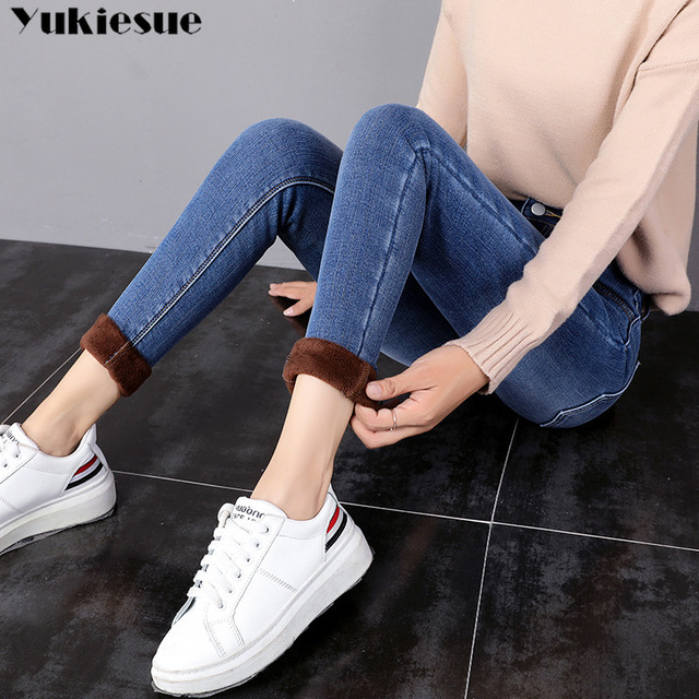 Winter Warm Jeans High Waist Casual Denim jeans Pants Plus size 2
