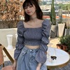 Women Blouses Striped Square Collar Shirts Pleated Slimming Lantern Long Sleeve Camiseta Top One Size Vetements Femmes 3