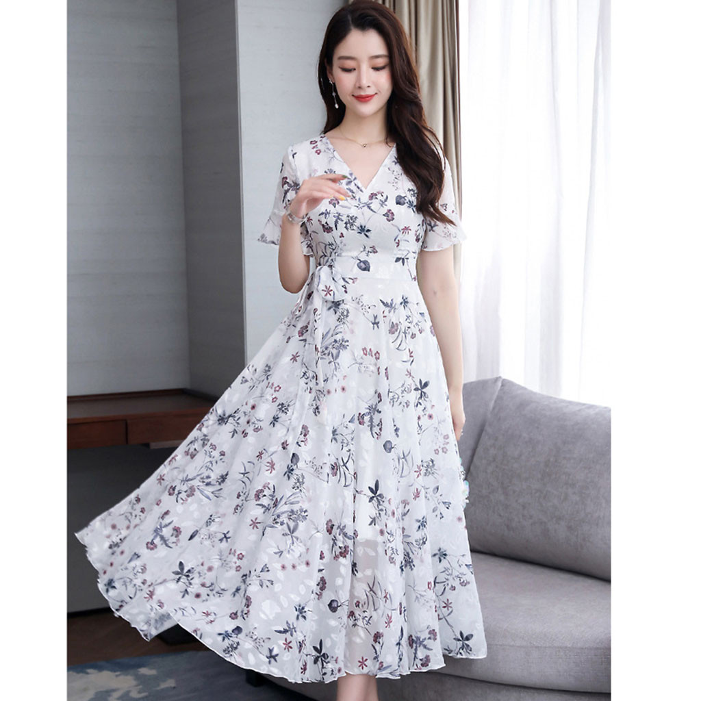vestido de mujer Women Casual V Neck Floral Print Short Sleeve Beach Dress femme robe