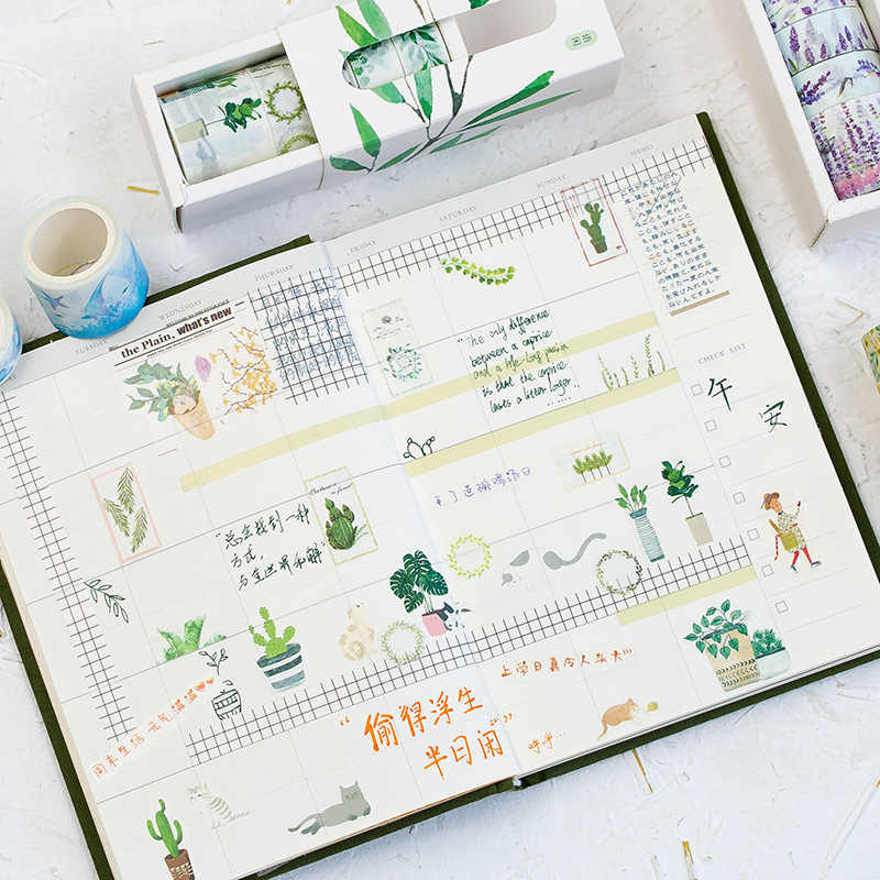 5 יח'\קופסא יפה פרח Washi קלטת DIY קישוט רעיונות מתכנן מיסוך קלטת דבק קלטת תווית מדבקת מכתבים