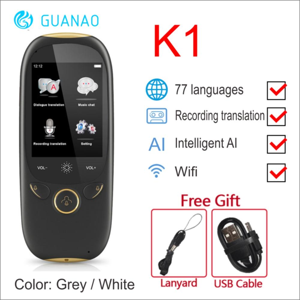 BOELEO K1 AI Synchronous Voice 45 Multilingual Portable Intelligent Translator 2.0inch Screen Instant