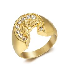 Hip Hop Iced Out Bling Gold Color Stainless Steel Ring Micro Paved CZ Horse Head & Horseshoe Rings for Men Jewelry Dropshipping hip hop iced out bling horse head pendants necklaces for men gold color stainless steel round cz necklace jewelry dropshipping