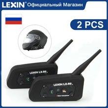 Lexin 2шт R6  Bluetooth Интерком  для Мотошлема Водозащитная Мотогарнитура для 6 Райдеров в Группе BT 21 Helmet Intercom MP3