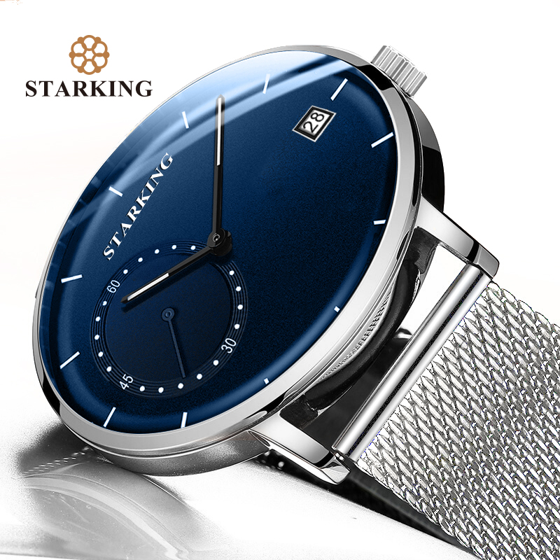 STARKING Men Watch Quartz Clock Steel Blue Analog Waterproof Dress 3ATM Mesh-Band Curved-Glass