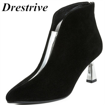Drestrive Women Ankle Boots Kid Suede High Heels 6.8 cm Pointed Toe Spring Classics Female Shoes Snakeprint Zipper Pigskin