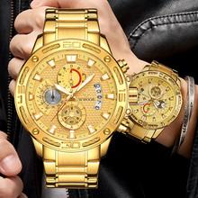 Sportowe zegarki wojskowe dla mężczyzn 2021 WWOOR luksusowy złoty pełny stalowy zegar kwarcowy zegarek mężczyźni wodoodporny chronograf Relogio Masculino tanie tanio 23cm QUARTZ Rohs 5Bar Składane zapięcie z bezpieczeństwem CN (pochodzenie) ALLOY 15mm Hardlex Kwarcowe Zegarki Na Rękę
