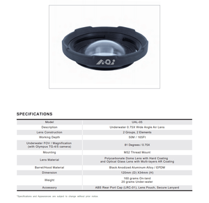 Image 2 - AOI UAL 05 0.75X M52 Underwater Wide Angle Air Lens