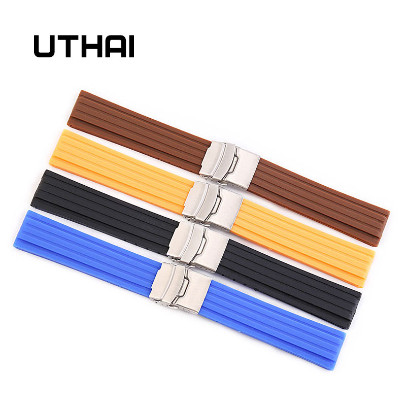 UTHAI Z21 18mm 20mm 22mm 24mm Watchbands Silicone Strap Soft Rubber Strap Waterproof Sports Tire Tire Pattern