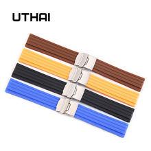 Uthai z21 18mm 20mm 22mm 24mm pulseira de silicone cinta de borracha macia à prova dwaterproof água esportes pneu padrão