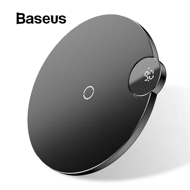 Baseus LCD Display Wireless Charger For iPhone X Xs Max Fast Wireless Phone Charger For Samsung S10 S9 S8 Xiaomi MI9