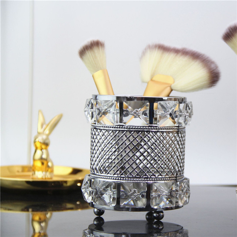 Crystal Makeup Tube Organizer European Beauty Tools Storage As Bathroom Dressing Table Accessories Makeup Brush Pen Holder