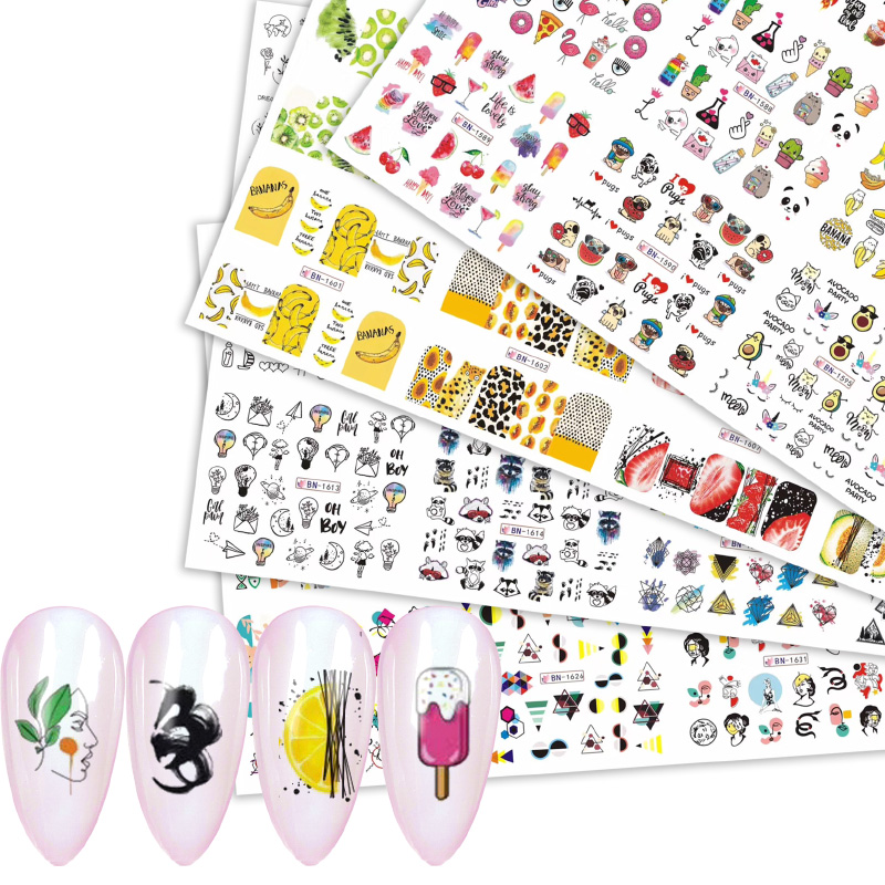 12 Designs Coloful Abstract Image Nail Sticker Summer Fruit Ice Cream Animal Line Girl Water Decals Transfer Slider Decorations