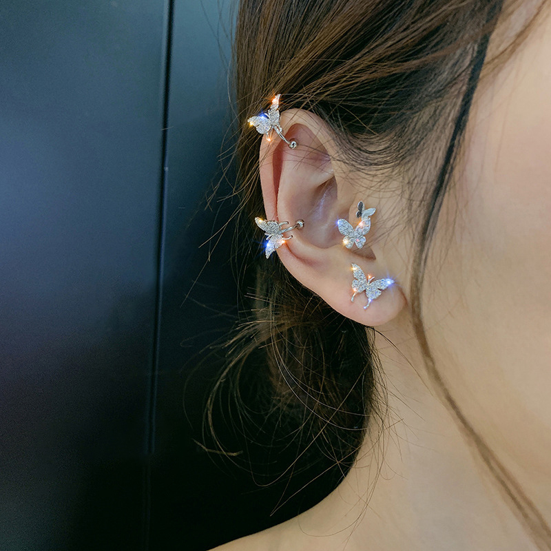 2020 Fashion Elegant Crystal Butterfly Clip Earrings For Women No Piercing Fake Cartilage Cute Statement Korean Earring Gifts