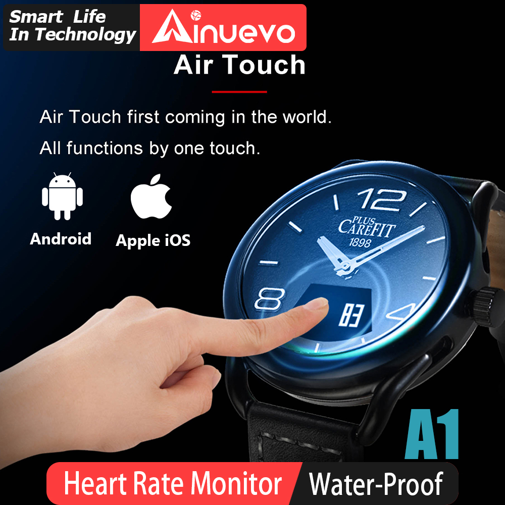 Ainuevo Sport Man Smart Watch Sapphire Air Touch Screen 3ATM Waterproof Heart Rate Monitor Blood Oxygen Pressure Android IOS