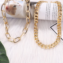 Punk Gold Color Thick Chain Clavicle Chains Necklaces for Women Cross Necklace Metal Couple Hip Hop Necklace buckle necklaces for women 2020 jewelry punk thick chain clavicle chains necklace metal couple hip hop gold color necklace