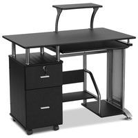 Black Computer Desk with Printer Shelf Engineered Wood Construction Desk with Slide out KeyBoard Shelf Powder coated metal frame