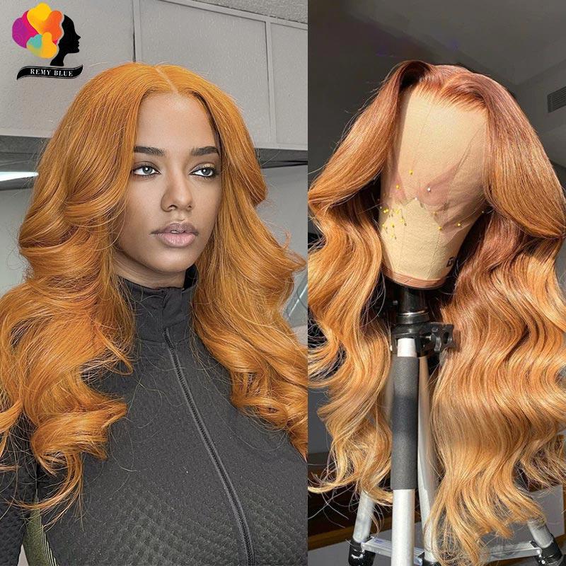 Miód peruki blond brazylijski brązowy ciało koronkowa fala przodu ludzki włos peruka 13x1 przezroczysta koronkowa część peruka Remyblue Remy 180% gęstość