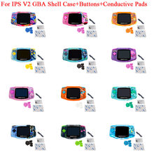 No Need Cut Shell Case With Buttons for GameBoy Advance Game Console Housing Shell Case with Glass Lens for GBA IPS V2 Case