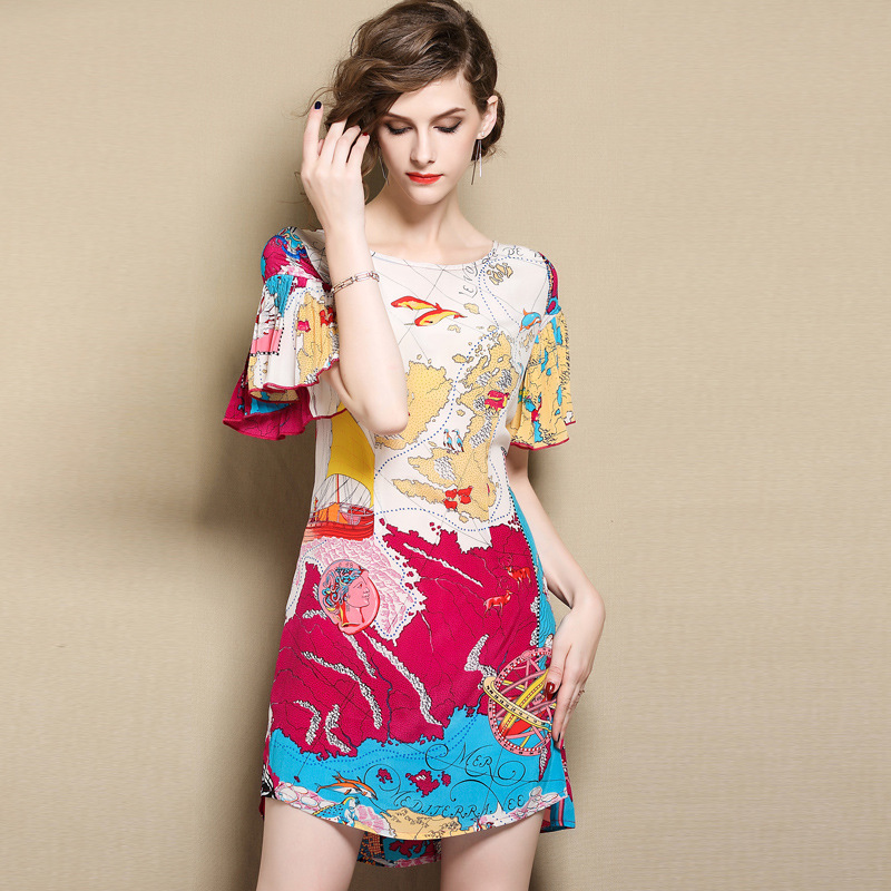 silk dresses women natural 2020 spring summer beige printed floral casual sexy party dress plus size high-quality fashion