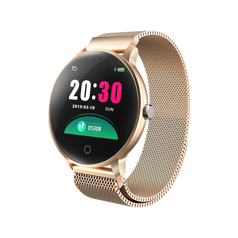 O8 Smart watch Slim Metal Body Milanese Strap smart bracelet IP68 waterproof Heart Rate Sleep detection