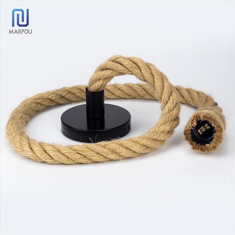 Retro Decorative Rope E27 Hanging Lamp Holder 1m 1.5m 2m Socket E27 Lamp Base Bulb Holder Chandelier Connector Adaptor Cable