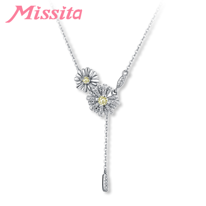 MISSITA Romantic Daisy Flower Necklaces for Women Brand Fashion Jewelry Party Gift Anniversary Silver Color choker
