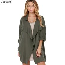 Fall 2019 Trench Coat Women Cardigan Plus Size Loose Windbreak Women Green Basic Jacket Streetwear Harajuku Winter Coat Women