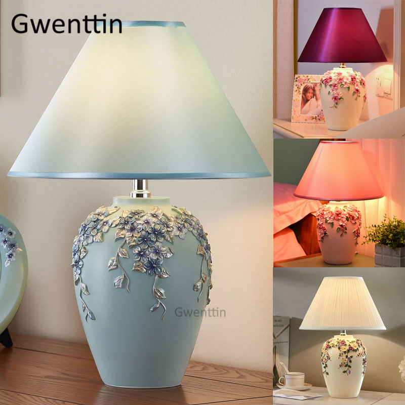 flor romantica moderna candeeiros de mesa led suporte luz da mesa resina standing luzes para sala